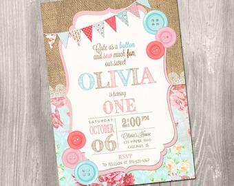 Cute as a button invitation, Button invitation, 1st birthday invitation, first birthday invitation, digital, Printable Invitation
