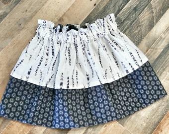 Black Feather Skirt - Black White Outfit - Girls Tribal Skirt - Toddler Skirt - Girls Feather Skirt - Monochrome Girls Skirt