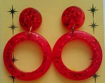 Handmade Resin Red Confetti Hoop Earrings