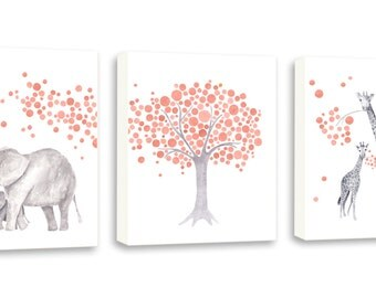 Peach Nursery Decor, Baby Girl Nursery Art, Set of Three Canvases, Elephant and Giraffe, Canvas Wall Art, Kids Room Wall Decor, Prints