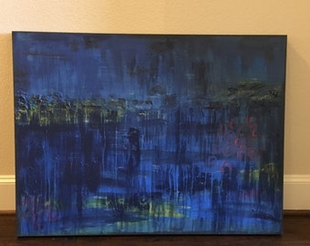 Blue and Navy abstract painting