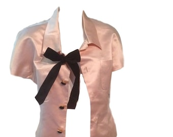 Chanel Pink Silk Jacket with Black Bow (Size 40)