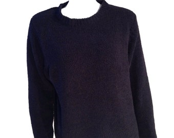 Black Chenille Luxury Knit Sweater - Size Large