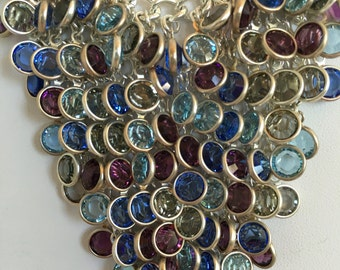 Couture Necklace multi Color Semi Preciois Faceted Bezel Setting Gemstone Shades of Amethyst Topaz Sterling Silver 925 Bib V Style