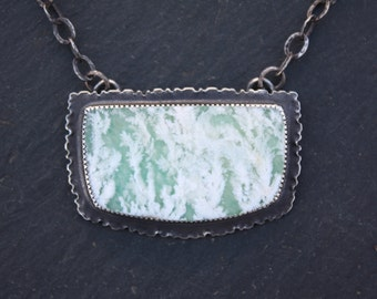 Stinking Water, Plume Agate, Silver, Pendant