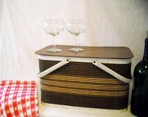Mid-Century Redmon Picnic Basket~ Ca. 1960's  Flip Top Brown & Tan Wicker/Wood Picnic Basket~Decor Sewing Storage Basket~ In: Junk Mans Gal