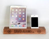 Ipad Holder - Personalised wooden iPad stand, iPhone holder, desk stand, new job, Birthday gift, graduation or new job gift, gadget stand