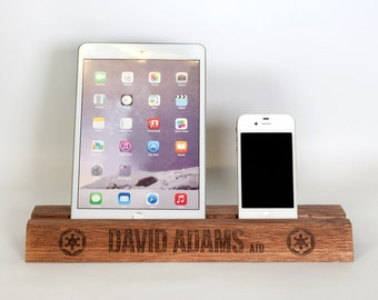 Ipad Holder - Wooden iPad stand, iPhone holder, iPhone stand, desk stand, new job, Birthday gift, graduation or new job gift