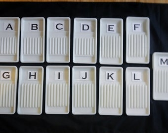 Vintage Glass Dental Tool Trays -CHOICE- American Cabinet, white,dental,industrial, scalers,explorers,excavators, chisels,cutting,instrument