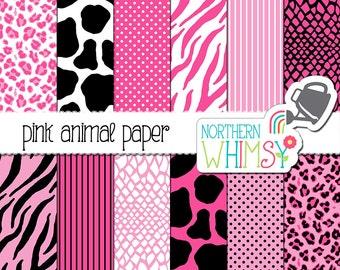Pink Animal Print Digital Paper – hot pink and black zebra, giraffe, snake / alligator, and cheetah print - printable paper - commercial use