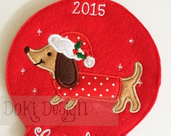 Personalized Doxie Dachshund Christmas Ornament