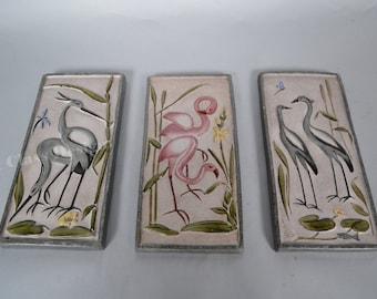 Set of 3 Mid Century wall plates by Krosselbach - Germany - Heron  - Flamingo - Crane