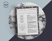 Agatha Sotherby Beautiful 2-Page Resume Template with Matching Cover Letter for Microsoft Word
