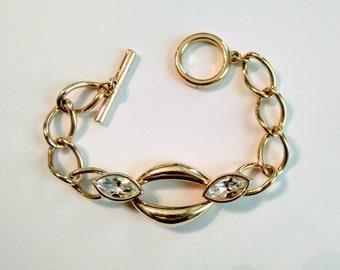 Vintage Swarovski S.A L. Faceted Crystal and Gold Tone Link Bracelet / 1980's / Swarovski Bracelet