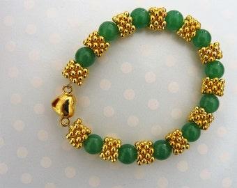 Jade & gold plated bracelet in gift box