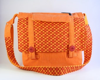 Fabric messenger bag, Orange shoulder bag, Colorful handbag, Crossbody bag