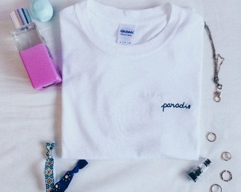 "Tumblr Embroidered ""Paradis"" T-Shirt (customize!)"