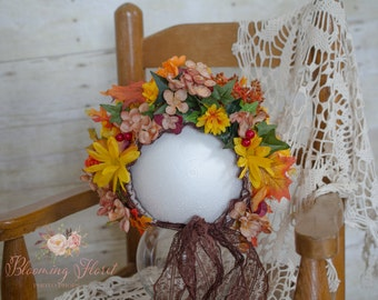 Flower Bonnet, Fall Flower Bonnet, Floral Bonnet, Flower Baby Hat, Photo Prop, Fall Flowers, Baby Flower Bonnet