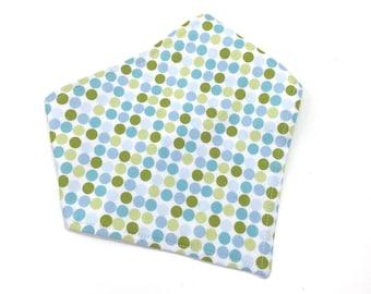 Baby bandana bibs - green and blue bib - scarf bib - baby boy drool bib - handmade baby bib