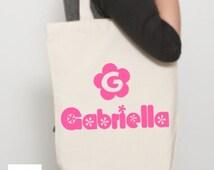 Customised Tote Bag, Flower Power, Any Name Bag, Personalized Tote Bag, Your Name Tote Bag, Teacher Gift, Bridesmaid Gift, Beach Bag.
