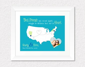 Gift for Best Friend, Going Away Gift for Best Friend, Long Distance Present, Friendship Quote Print, Personalized US Map Gift, Photo Gift