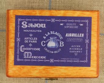 "Miniature wooden box - ""Aiguilles assorties"" violet label"