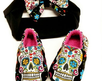 Sugar SkullS Baby Shoe,Dia De Los Muertos,Soft Sole Shoe,Day of The Dead,Baby booties,toddler slipper,matching headband