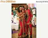 FLASH SALE - 20% OFF Matching Family African Print Dashiki outfit, red dashiki maxi dress, family outfit, 100 Percent cotton, African Wax fa
