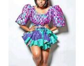 Sexy colourful mini African Print Dress with shorts, African maxi dress, african clothing, ankara skirt, ankara dress