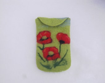 Handmade felt Iphone case Felt case Felt cover red poppy Felt case Mobile phone felt cover Red poppy bag Unique gift for her Wool case