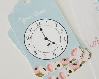 24 Clock Tags - Floral - Around The Clock Shower