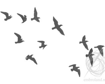 Birds Seagulls - Machine Embroidery Design - Instant Download - Five sizes