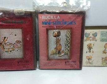 Bucilla Stitchery Holly Hobbie Picnicand R.F.D. Crewel Picture, Frame, Embroidery Kit, Hallmark Betsey Clark 21 Sticker Book