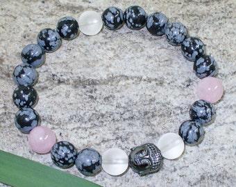 Buddha Bracelet, Yoga Bracelet, Meditation Bracelet, Gemstone Beaded Bracelet, Obsidian & Rose Quartz, Prayer jewelry, Stretch bracelet