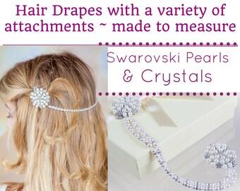 Bridal pearl chain,  brow band,  bride forehead band, Swarovski, vintage flapper, pearl strand, hair band, crystal pearl Art Deco