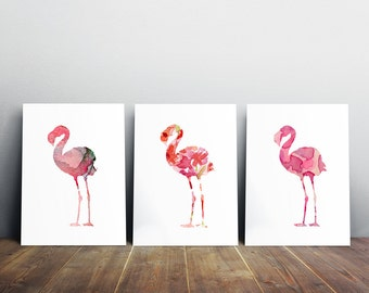 Flamingo watercolor painting art print giclee bird animal wall for Flamingo feather paint