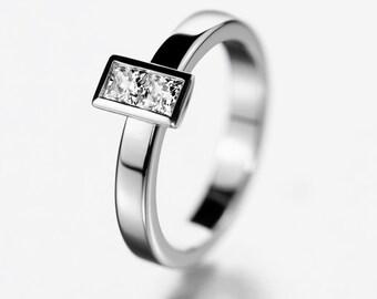 Modern engagement ring, bezel engagement ring, simple engagement ring, baguette diamond ring, unique wedding ring, princess diamonds