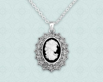 Gray Oval Cameo Necklace - 48849