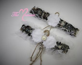 Bridal Garter, Wedding Garter, True Timber Camo Garter Set, Camouflage Garter Set, White Camouflage Wedding, Camo and Twine Garter.