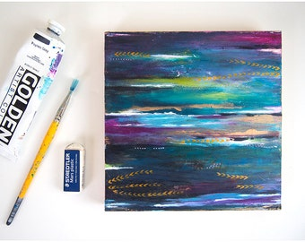 Abstract acrylic painting. 8x8 painting. Small painting. Abstract wall art. Modern abstract painting. Home decor wall art. Horizon art.