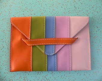 FREE SHIPPING**** Horchow Travel Envelope Leather Pouch Rainbow Stripes Made in italy