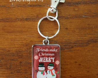 Key Chain Metal Accessory Rectangle Holiday Christmas Winter Snowman Art