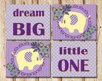 Nursery Art Lilac Yellow/Nursery Art Elephant/Nursery Prints Lilac/Nursery Wall Decor/Girls Room Art/Set of 4 prints