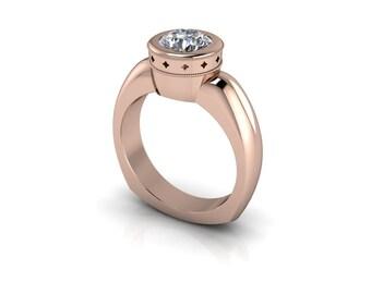 Forever One Round Brilliant Moissanite Bezel Set Euro Shank Solitaire Engagement Ring