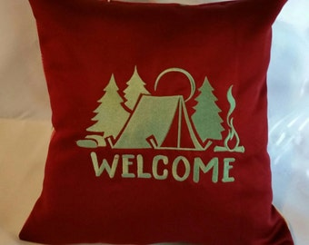 Tent  Welcome camping embroidered pillow cover with a campsite  and trees handcrafted