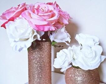 ON SALE 12 glass vases, centerpiece set, wedding centerpiece, baby shower centerpieces, bridal shower centerpieces, rose gold, wedding decor