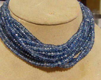 1 Strand Kyanite Faceted  Natural roundel  beads 16''  16, grams 4X6,  MM