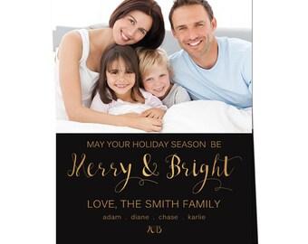 Holiday Photo Card - Christmas Photo Card - Holiday Printable Card - Merry & Bright Christmas Photo Card