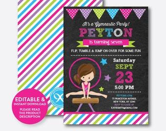 Instant Download, Editable Gymnastics Birthday Invitation, Gymnastics Invitation, Gymnastics Party Invitation, Girl, Chalkboard (CKB.468C)