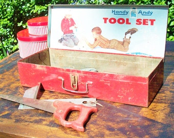 Handy Andy Tool Box / Original Tin Box and Tools / 1960's Photo Graphics inside and out